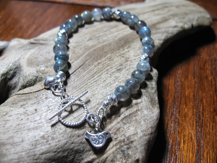 labradorite and sterling silver S-cut beads with ornate bird charm
