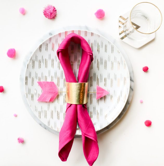 Gold and Pink Arrow Napking Rings for Valentine's Day