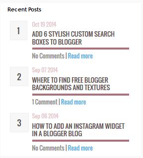 recent post widget for blogger