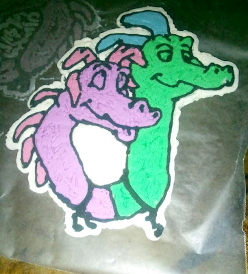 buttercream transfer, dragon tales cake