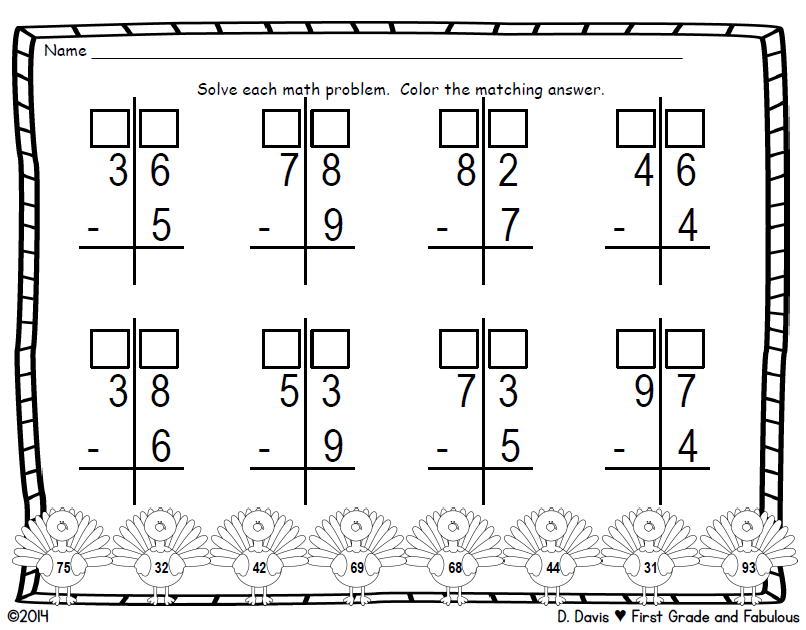 Thanksgiving Regrouping Page-First Grade and Fabulous