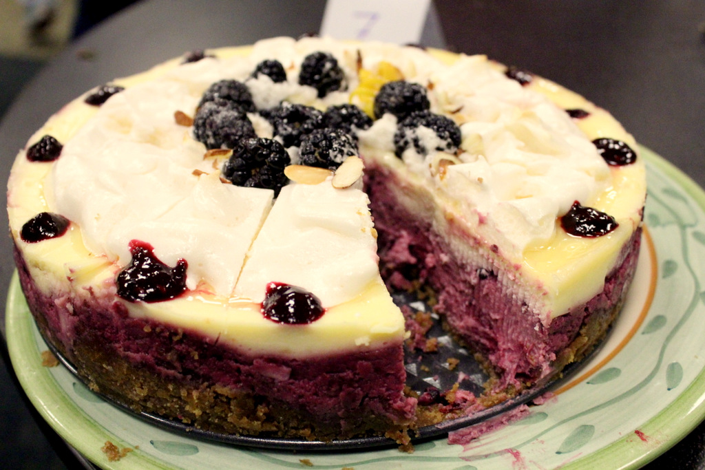 49 Dresses: Lemon Blackberry Cheesecake with Meringue Topping