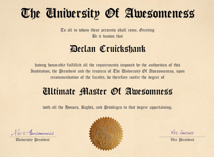 diploma of awesomeness