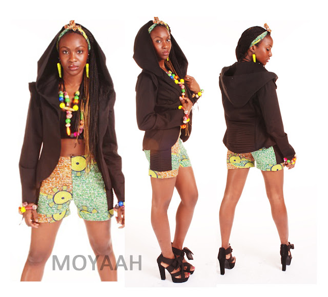 green african print shorts bright accessories african print accessories black pleated jacket with large hood moyaah