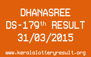 DHANASREE DS 179 Lottery Result 31-3-2015