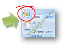 gambar: Tombol Office (Office Button) di Microsoft Word 2007