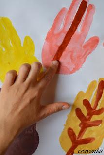 liście - malowanei szczegółów palcem