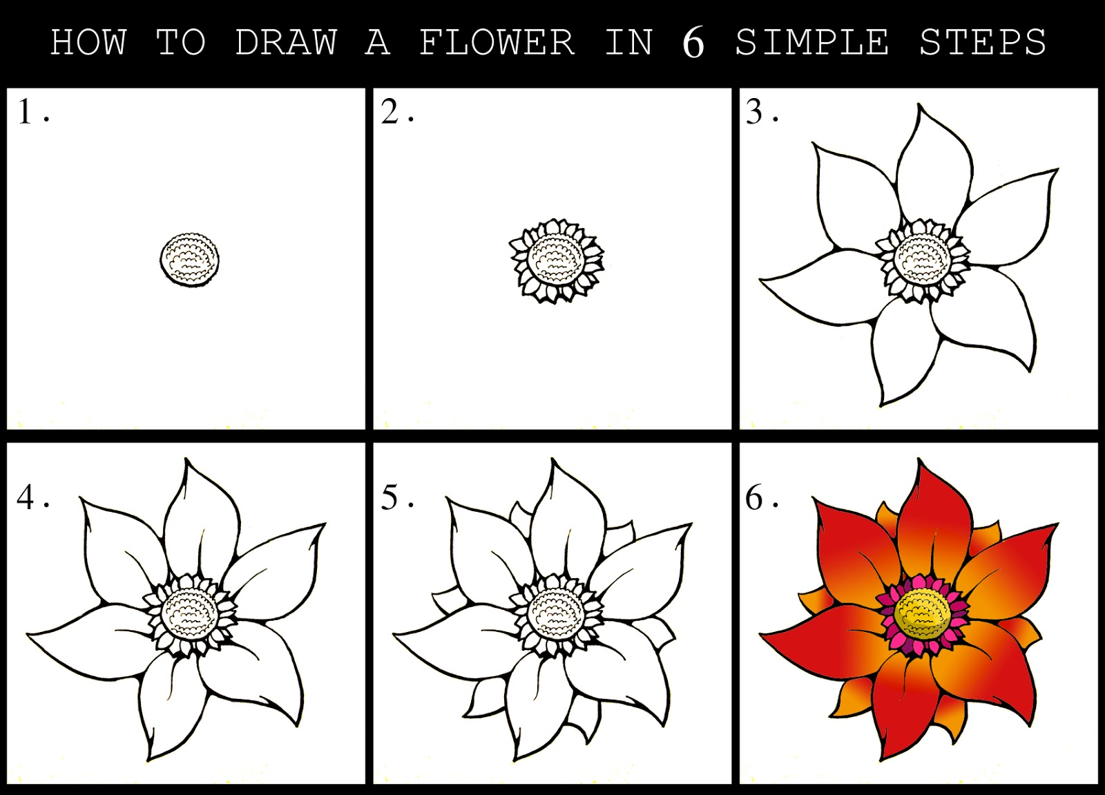 how to draw a cartoon flower step by step