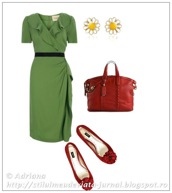rochita verde, balerini rosii, geanta rosie, cercei margareta