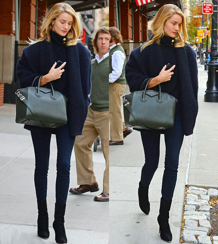 Rosie Huntington-Whiteley Givenchy bag all black off duty