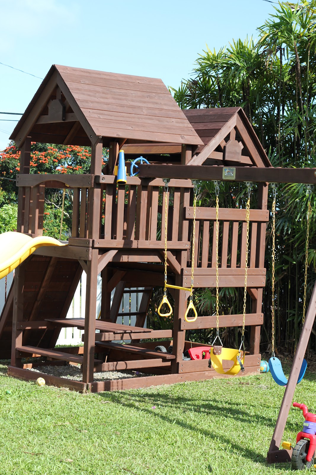 diy wood staining a kids swing set livin u0027 the mommy life