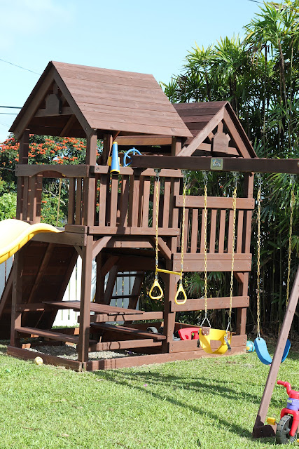 Diy Wood Staining A Kids Swing Set Livin The Mommy Life