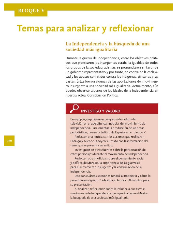 Temas para analizar y reflexionar. La Independencia y la búsqueda de una sociedad mas igualitaria - Historia 4to Bloque 5 2014-2015