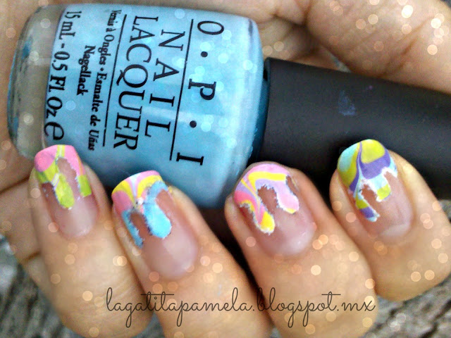 dripping water marble nails