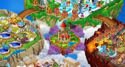 imagen de la isla del castillo de dragon city mobile y dragon city de facebook
