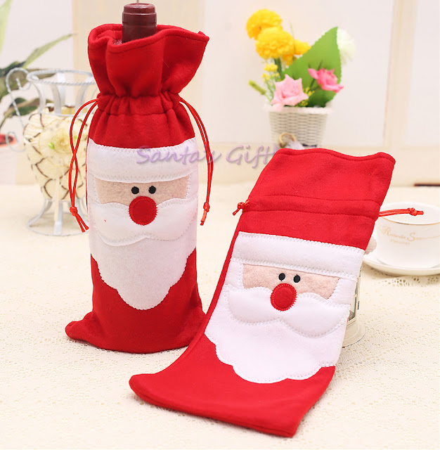 christmas Red Wine Bottle Cover Holiday Festival Table Bag Gift facebook cover photo