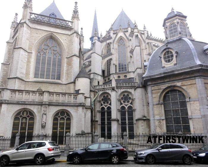 Saint Michael and Saint Gudula cathedral (Sint-Michiels- en Sint-Goedelekathedraal) back part close up