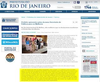 Site da prefeitura do Rio, onde Paes afirma combater a violência contra a mulher