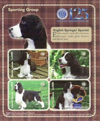 2009年シエラレオネ共和国 イングリッシュ・スプリンガー・スパニエルの切手シート