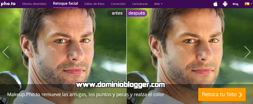 Retoca tus fotos online gratis usando Makeup Photo