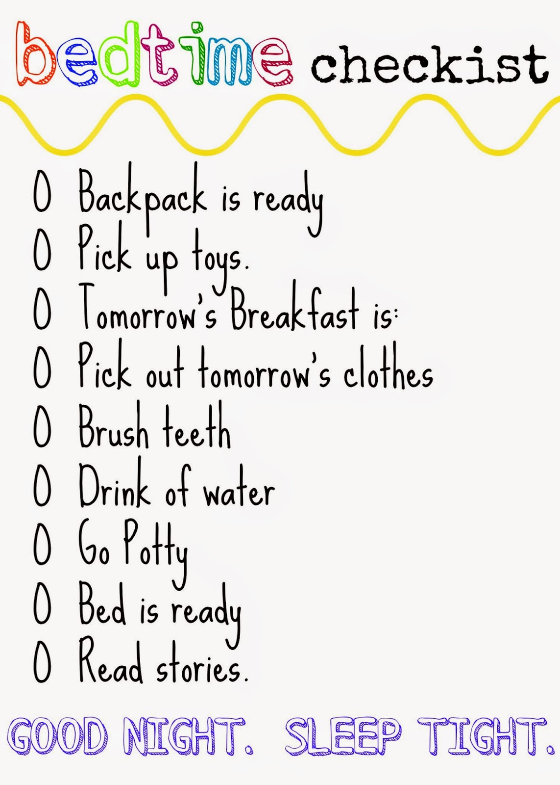 Bedtime Printable Checklist : The Chirping Moms