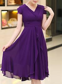 Short Sleeve Purple Petal Layered Dress