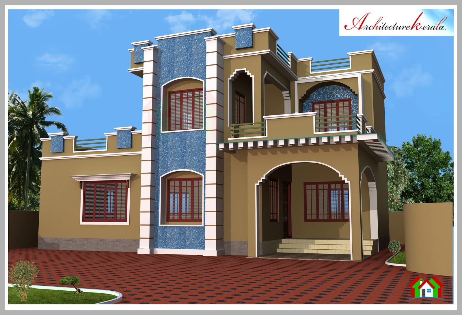 Architecture kerala 3d elevation and floor plan for Kerala building elevation
