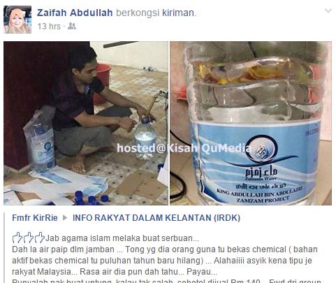 Rakyat Di Tipu Air Zamzam Guna Air Paip Dalam Jamban