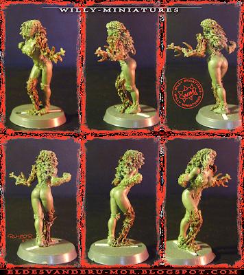 Distintas vistas de la miniatura de dríade para Blood Bowl realizada por ªRU-MOR para WILLY Miniatures