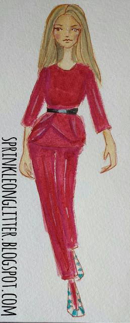 Sprinkle On Glitter Blog// Elie Saab// Berry Pantsuit