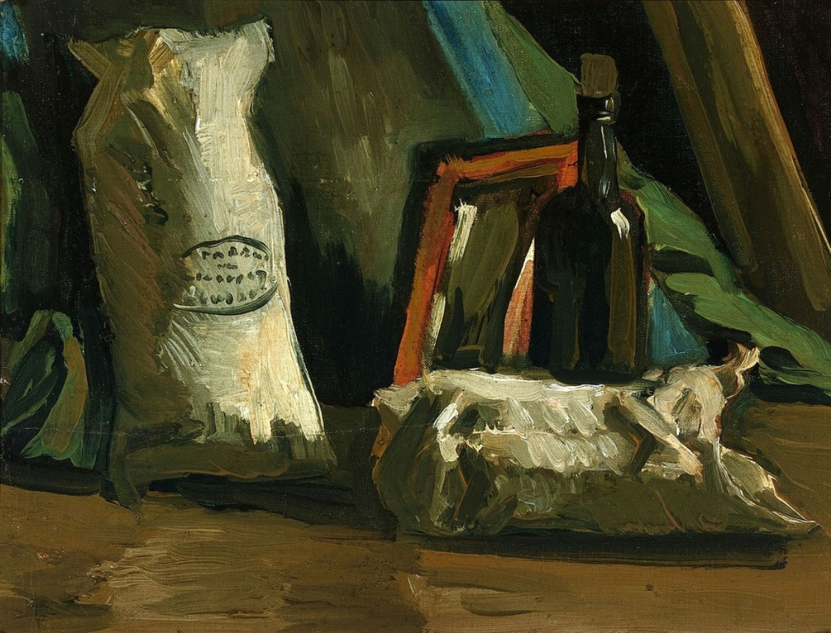 Still Life with Two Sacks and a Bottle (F 55, JH 532) by Vincent van Gogh
