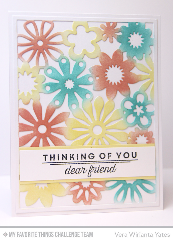Floral Thinking of You Card by Vera Wirianta Yates featuring the Lisa Johnson Designs Spring Tulips stamp set and Floral Fusion Cover-Up Die-namics #mftstamps