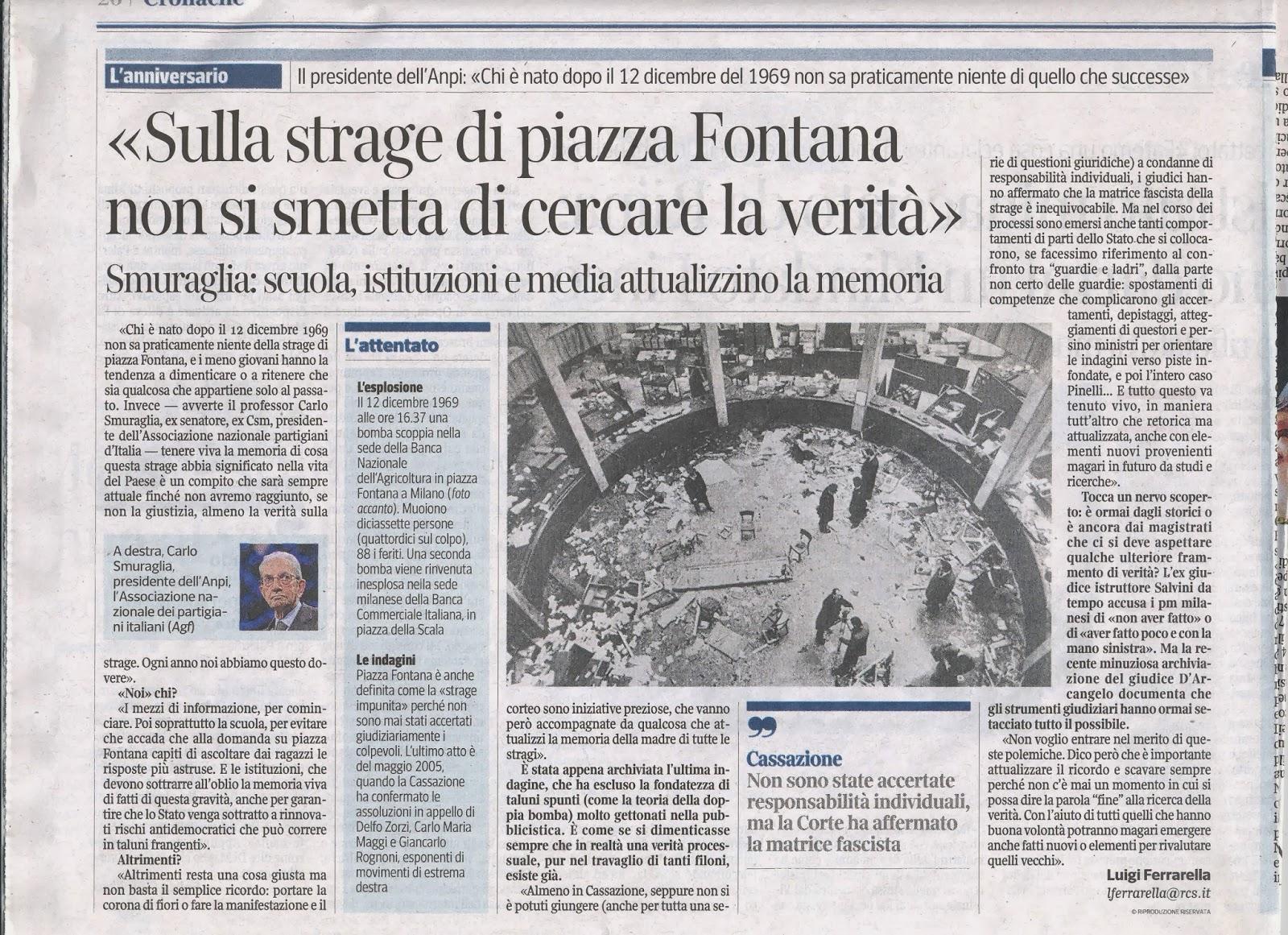 A n p i provinciale di roma carlo smuraglia verit sulla strage di piazza fontana il corriere della sera 11 novembre 2013