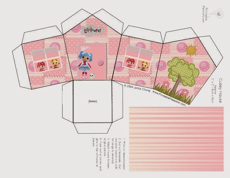 Lalaloopsy Rosa: Caja con Forma de Casa para Imprimir Gratis.