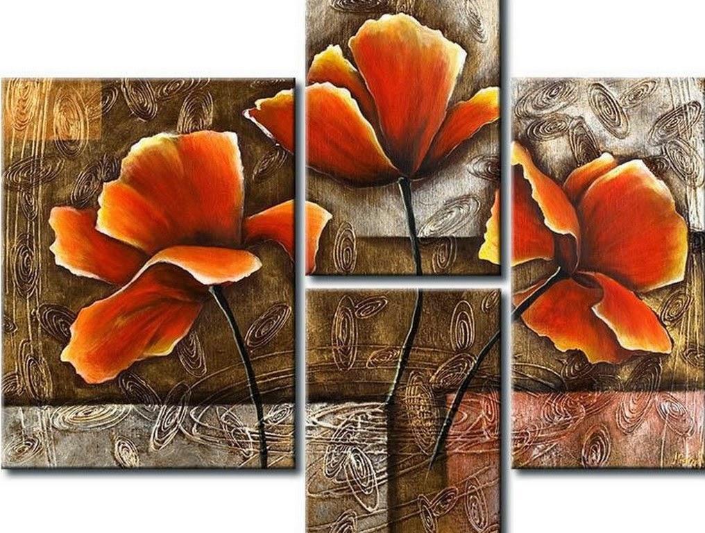 cuadros-tripticos-de-flores-rojas