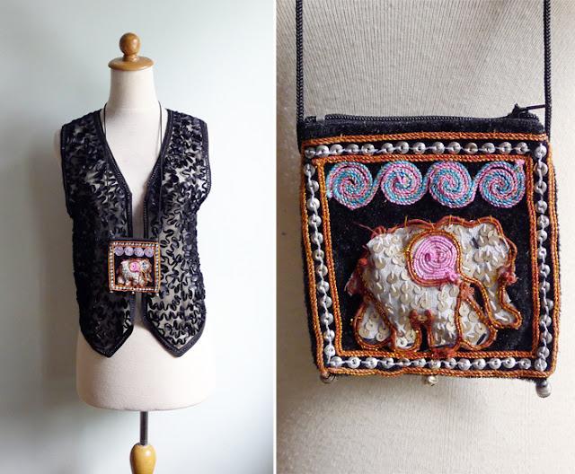 vintage beaded sequins ethnic hippie bag