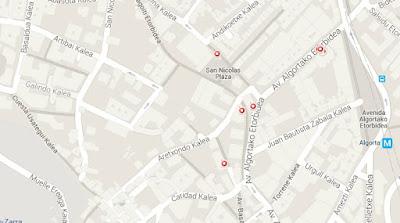 Mapa de la ruta de pintxos por Algorta (Getxo)