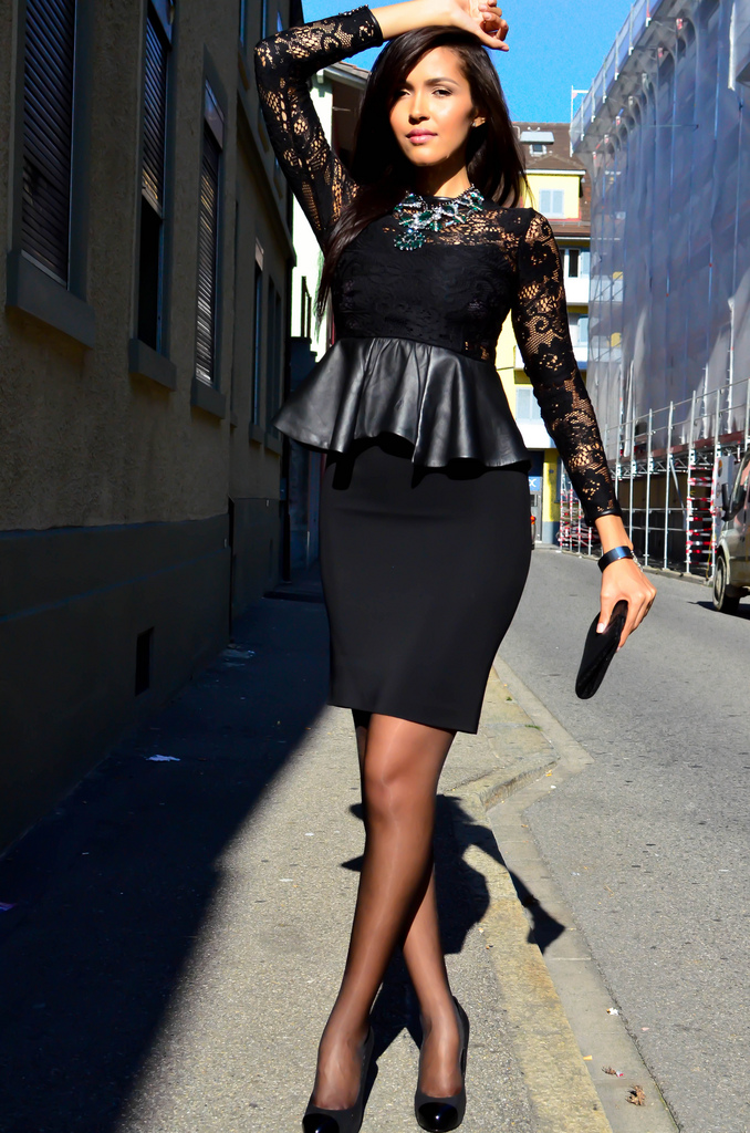 beautiful in lace top black pencil skirt