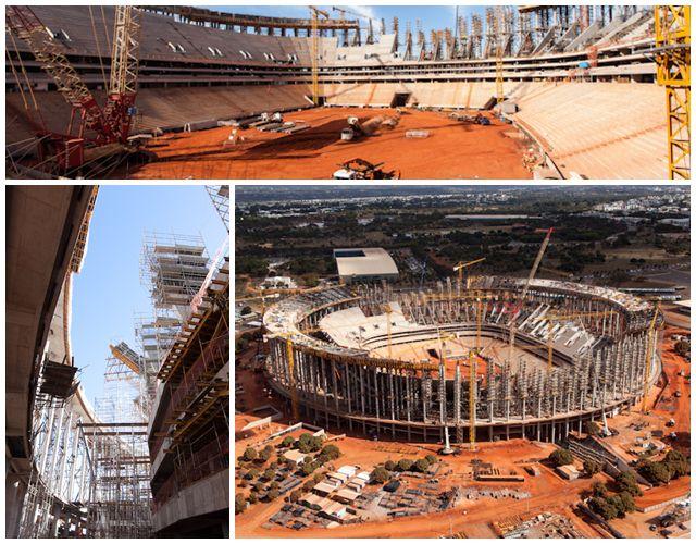 Situação das obras do Estádio Nacional de Brasília Mané Garrincha em julho de 2012