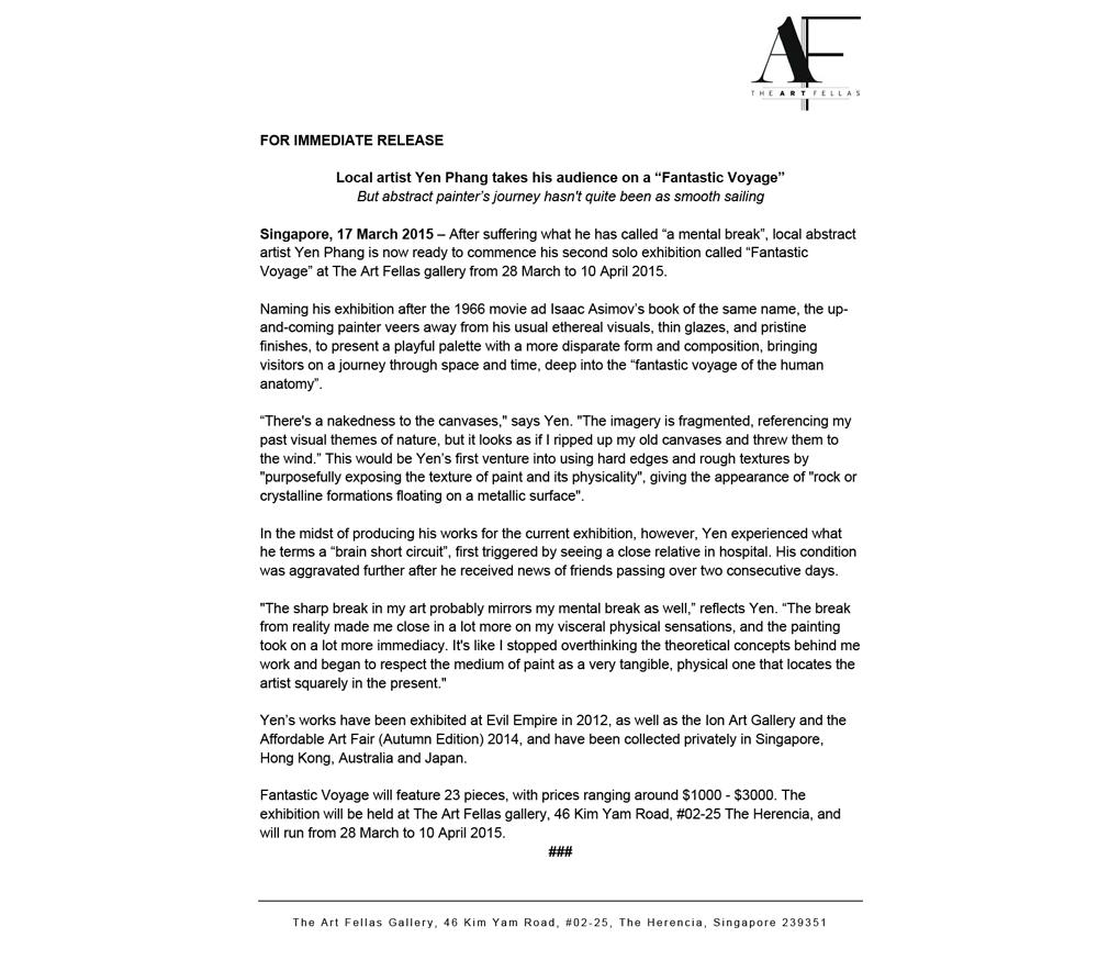 Fantastic Voyage Press Release | Sherlyn V. Portfolio