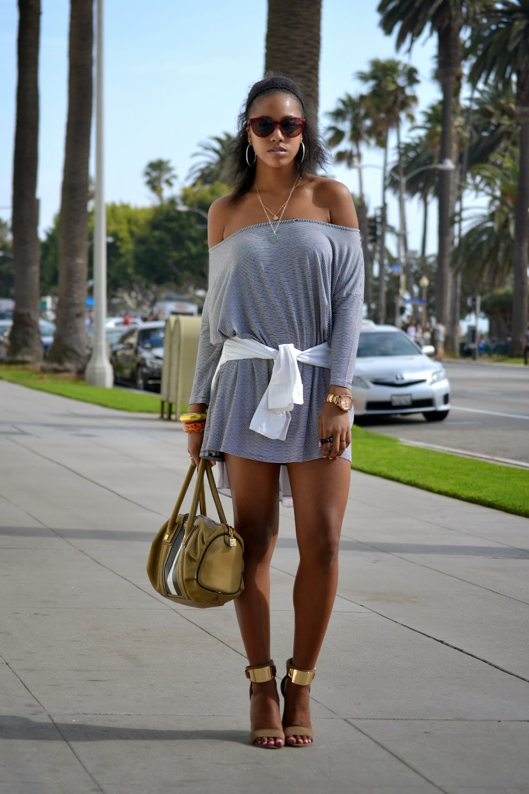 Wearing H&M sunglasses with Reiss striped shirt LAMB purse with Aldo heels