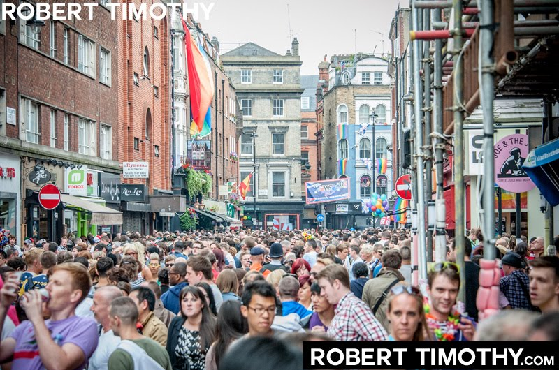 Thousands throng Old Compton Street in Central London for the after-party of the 2012 World Gay Pride parade