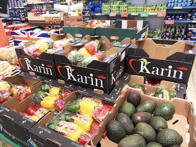 Supermarket boxes with name of Karin