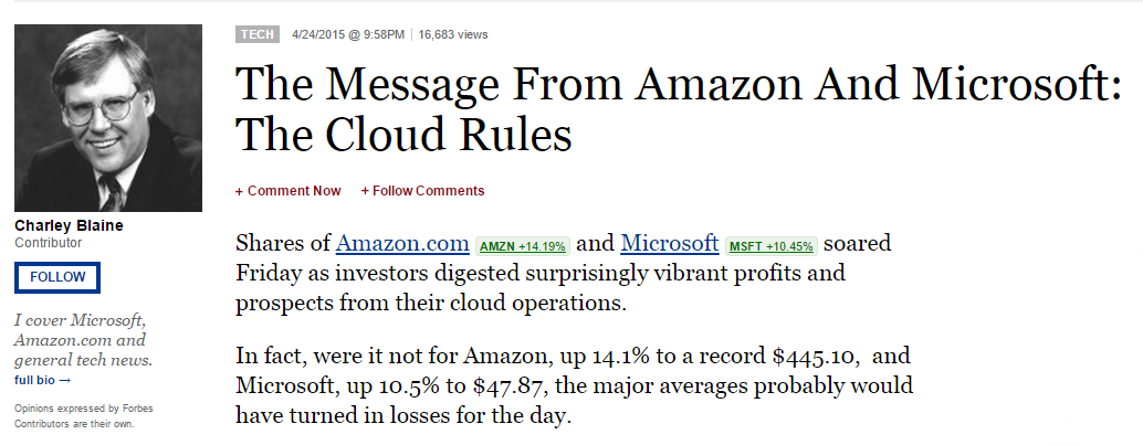 The Message from Amazon and Microsoft: The Cloud Rules
