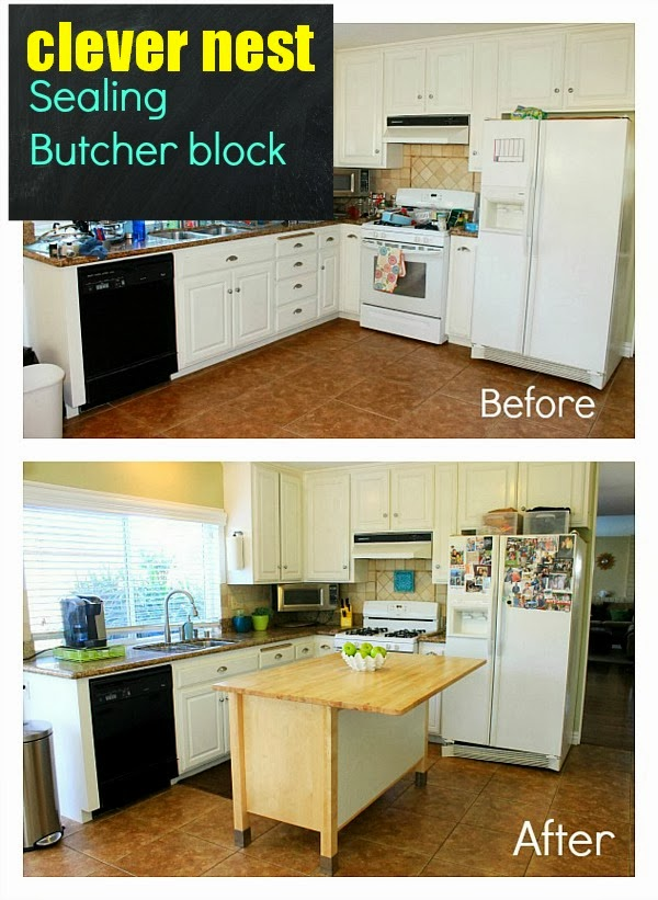 How to seal butcher block using polyurethane #ikea_varde #clever_nest #lime_aqua_yellow