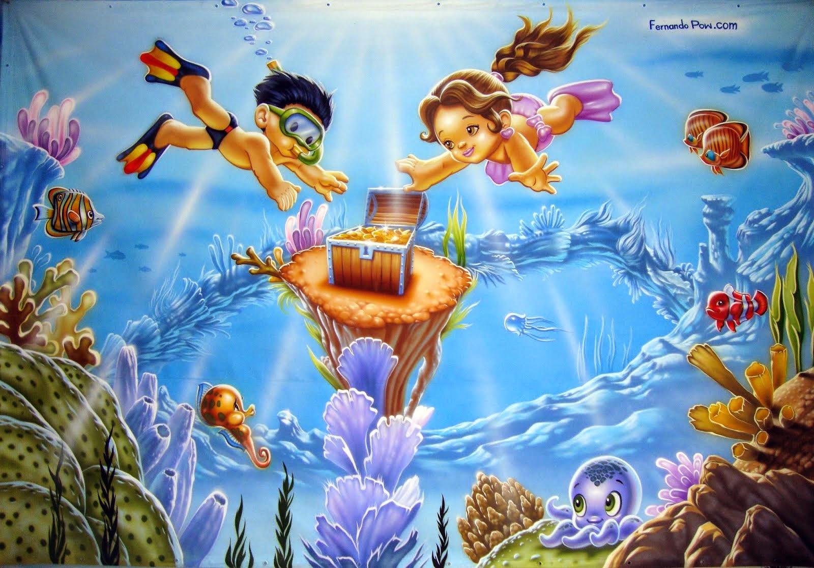 Detalhe da pintura do Casal de Mergulhadores.