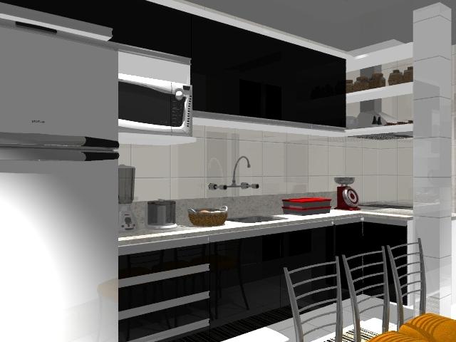 Cozinha com caixa branca e frentes em Laca preta brilhante