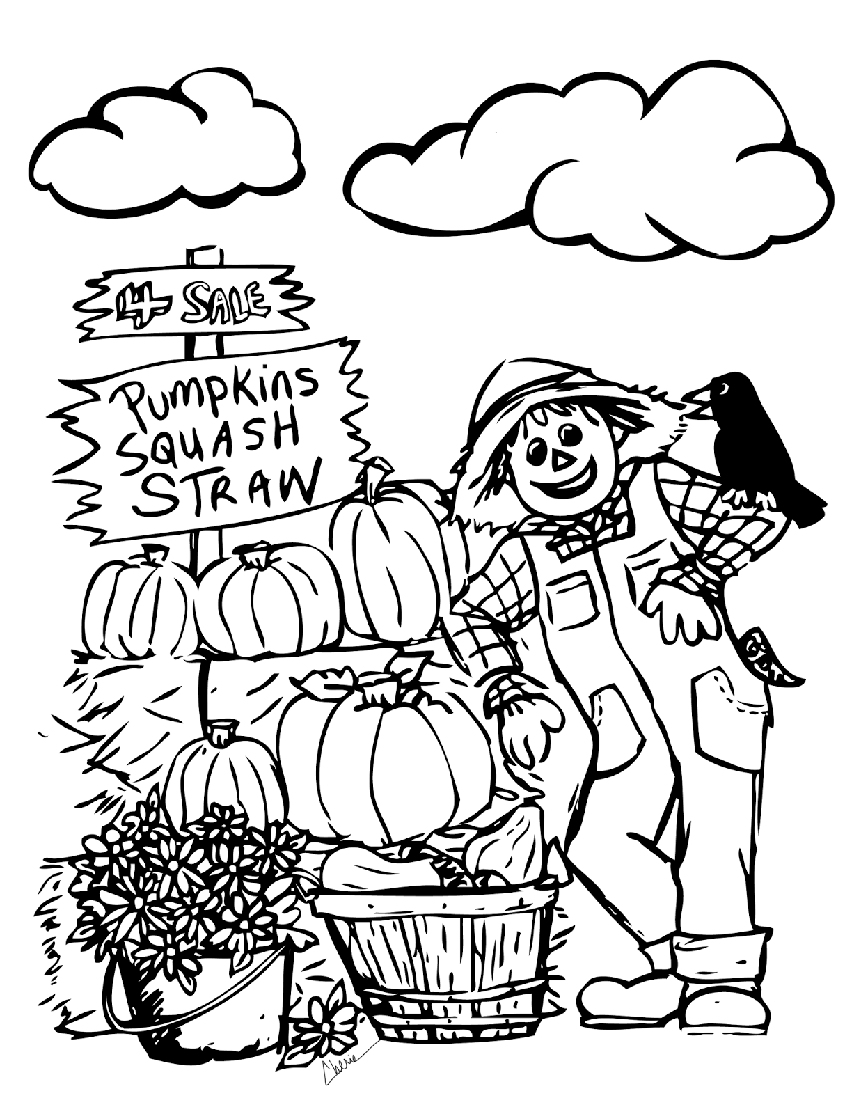 scarecrow coloring pages autumn - photo#24
