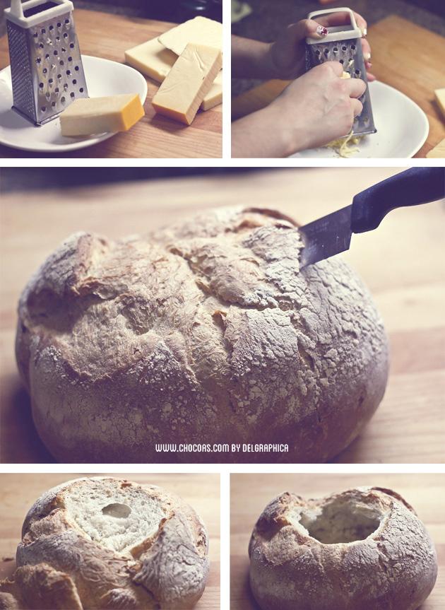 Fondue en pan redondo para 2 - paso a paso