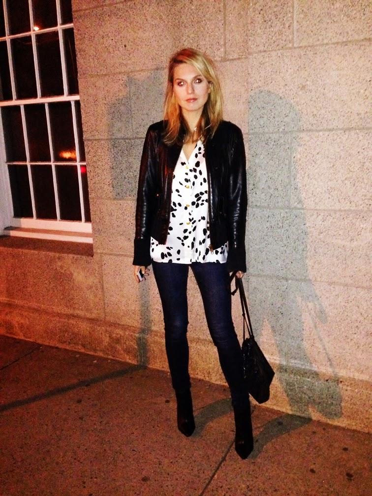 Dalmatian print silk blouse